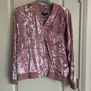 Plus crushed velvet zip up jacket